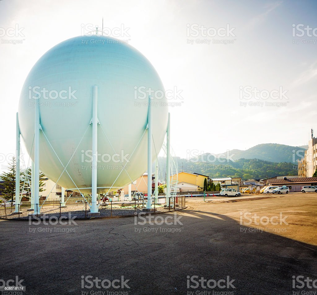 White gas tank in Aizuwakamatsu Japan stock photo