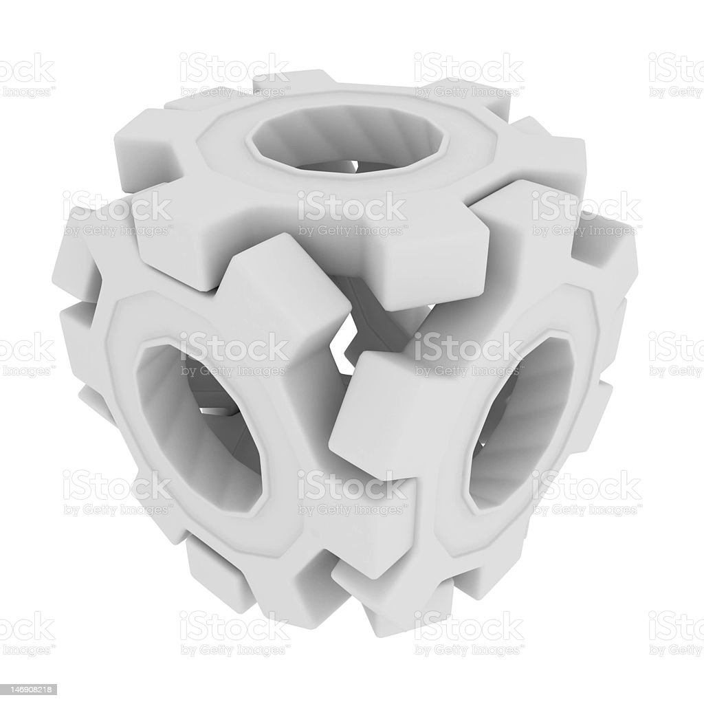 White Gear Cube royalty-free stock vector art