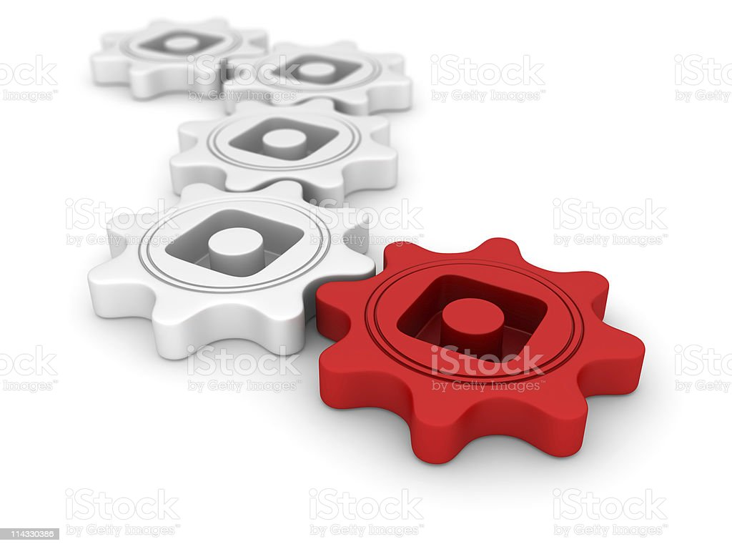 White Gears Connection On Red royalty-free stock photo