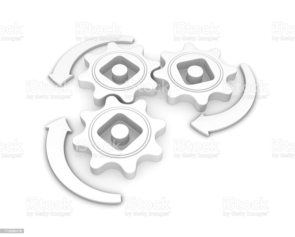 White Gears Connection royalty-free stock photo