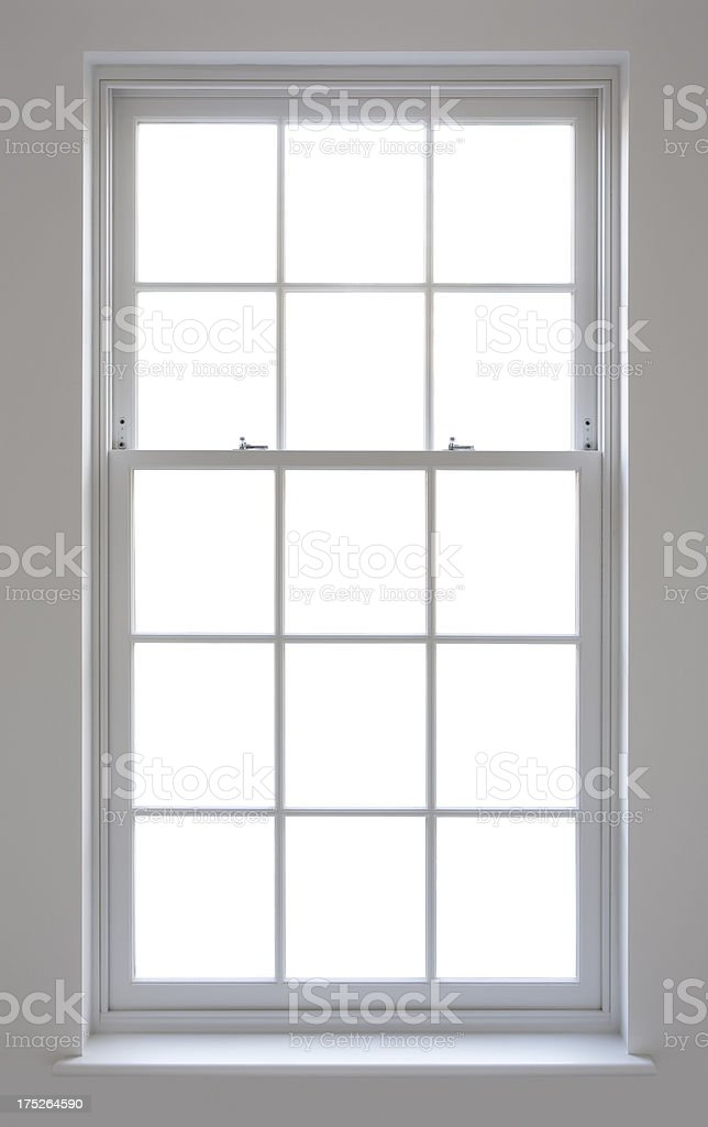 white Georgian window with clipping path stock photo