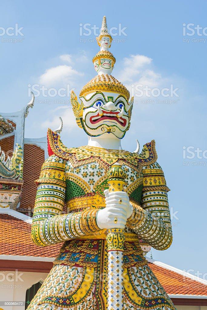 White Giant  Guardian statue stock photo