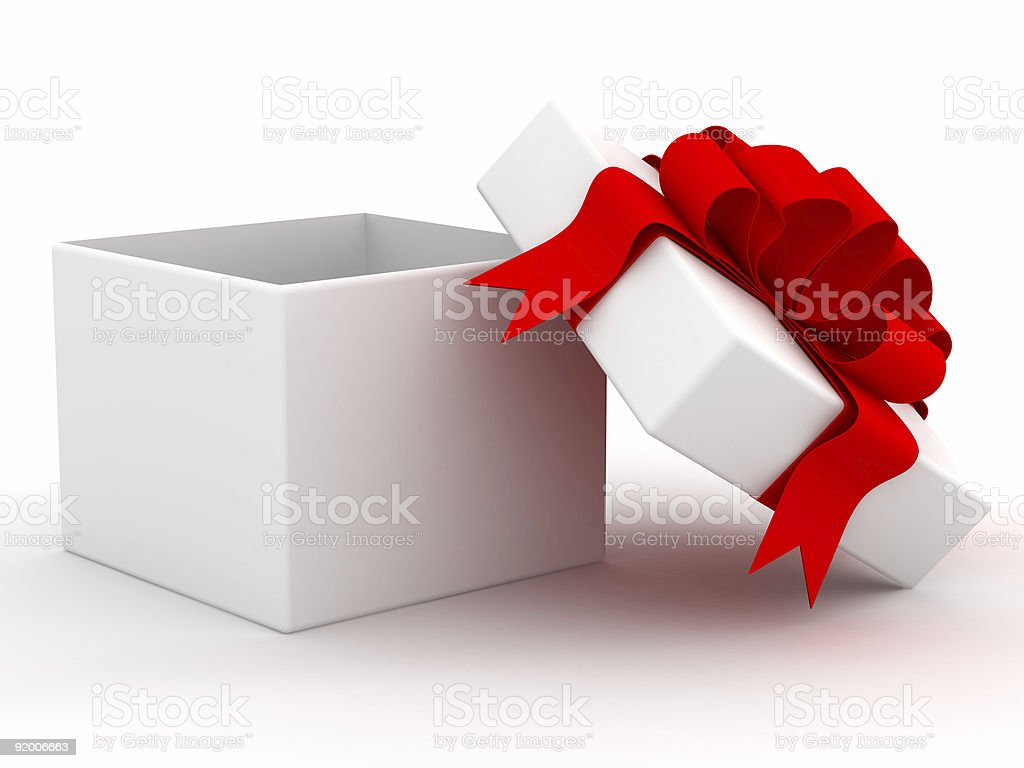White gift box. 3D image. royalty-free stock photo