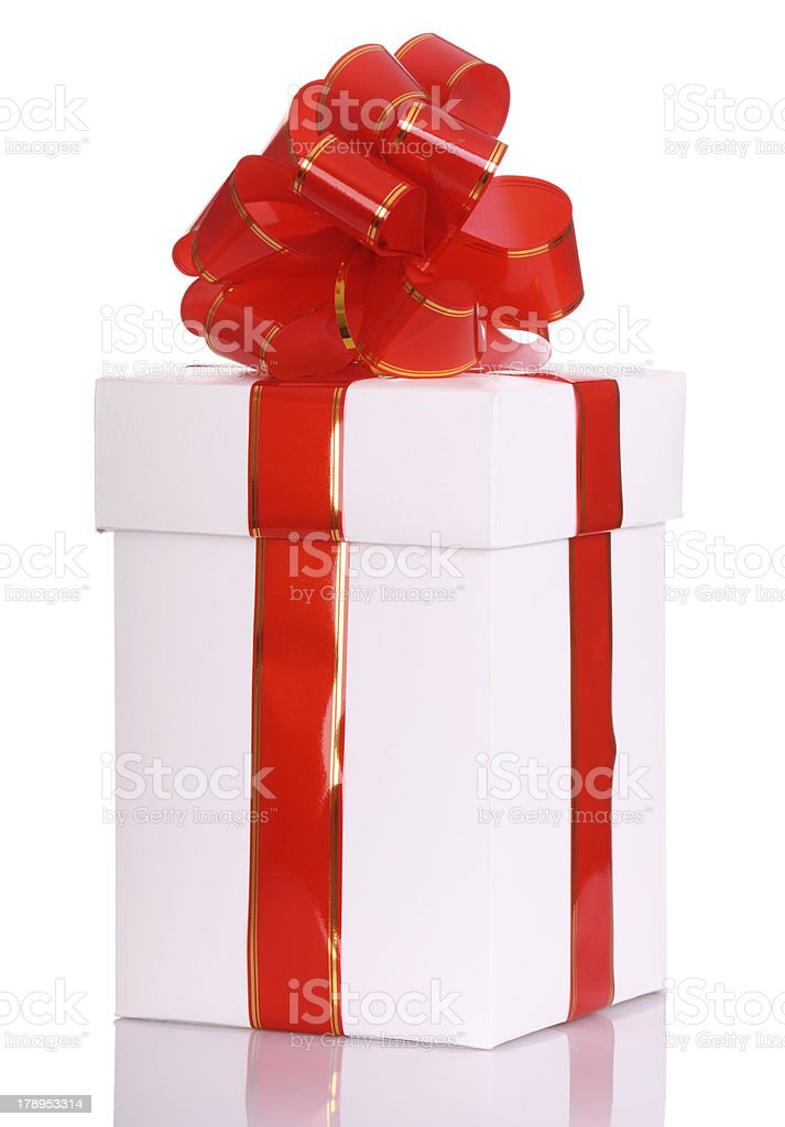 White gift box and red bow. royalty-free stock photo