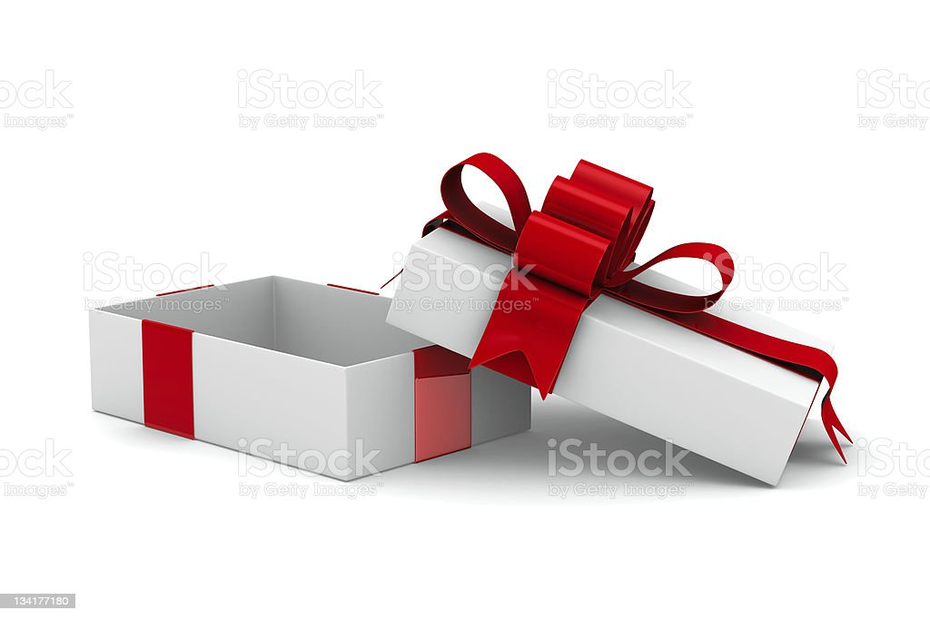 White gift box. Isolated 3D image royalty-free stock photo