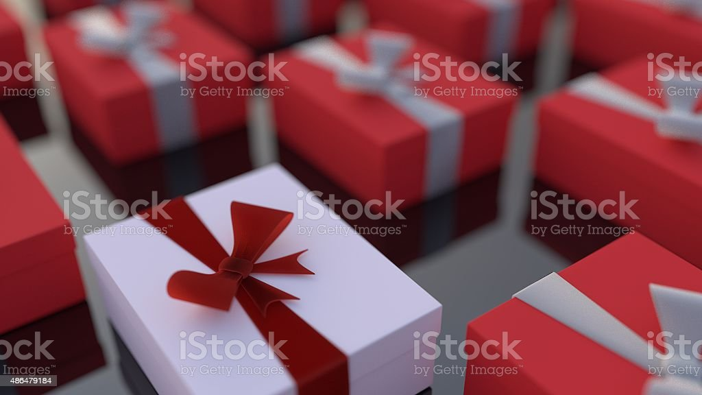 white gift box standing out from the rest stock photo