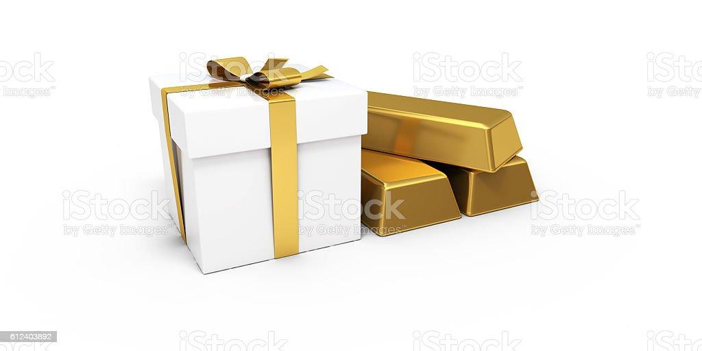 White Gift Box Three Gold Bar - Clipping Path stock photo