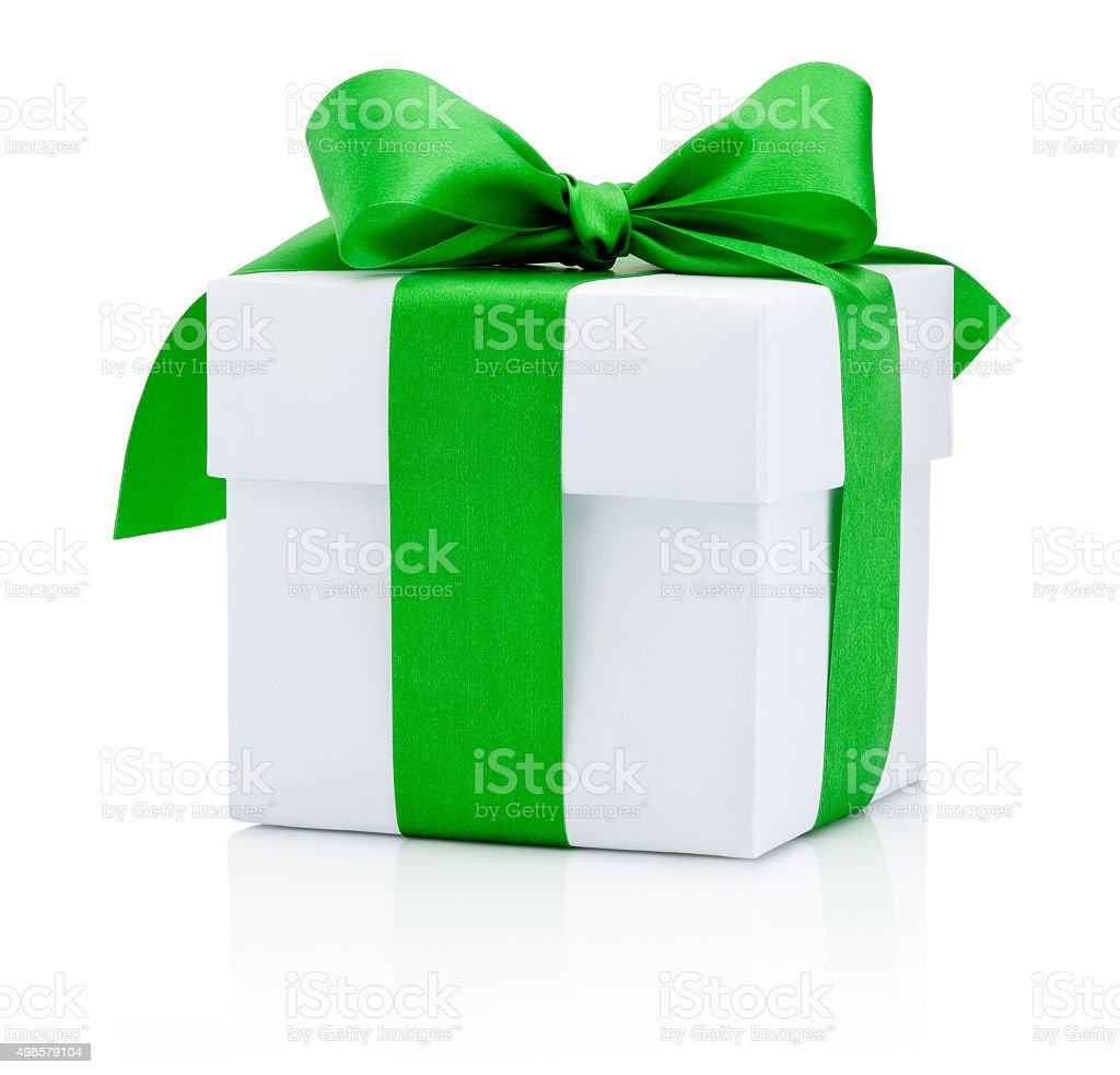White gift box tied green ribbon Isolated on white background stock photo