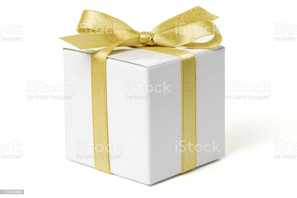 White Gift Box with Gold Bow stock photo