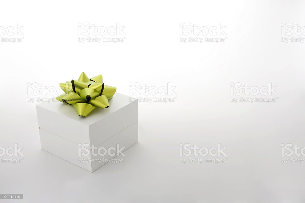 White Gift Box with Green Ribbon royalty-free stock photo