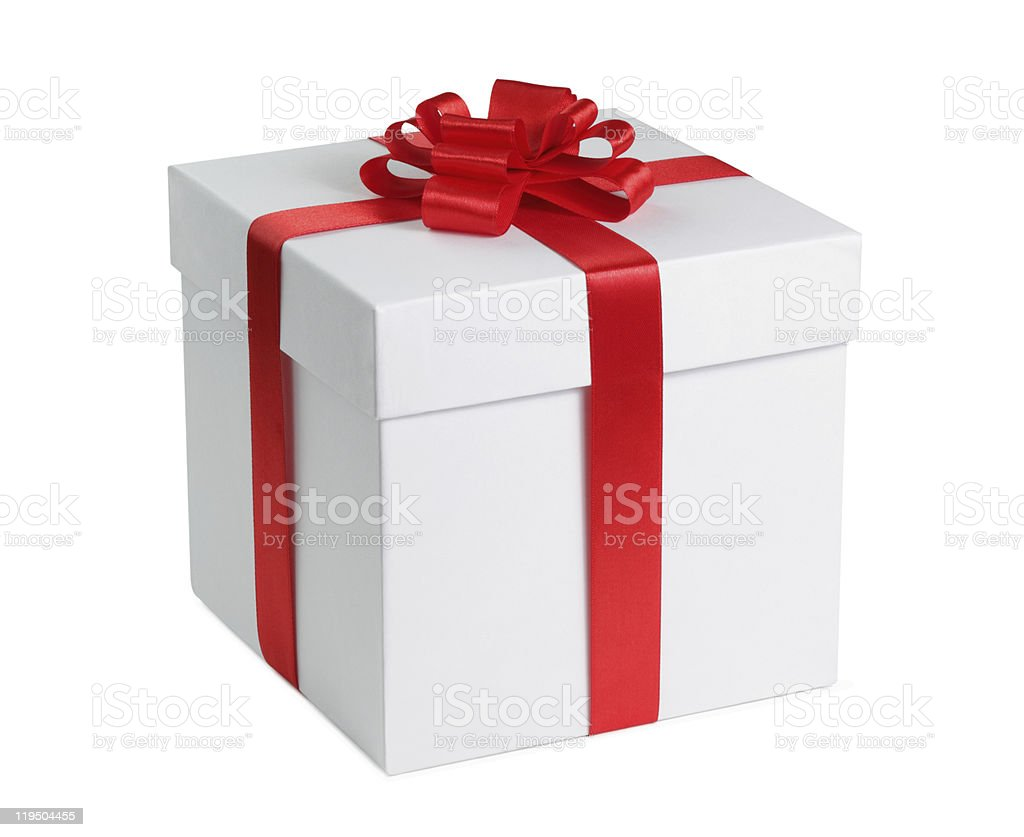 White gift box with red ribbon and clipping path stock photo