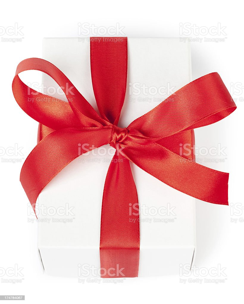 White gift box with red ribbon royalty-free stock photo