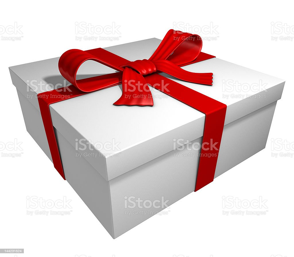white gift box with ribbon and bow royalty-free stock photo