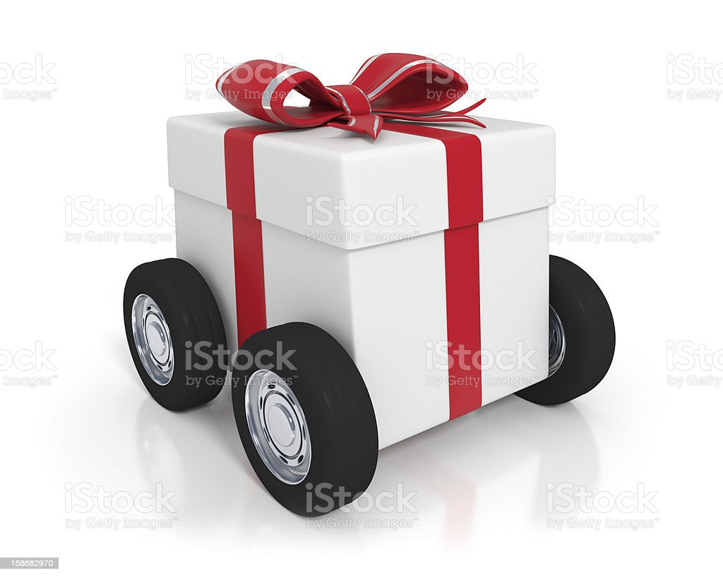 White gift box with wheels royalty-free stock photo