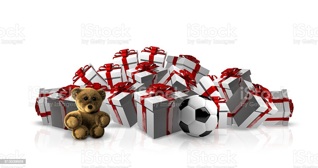 white gift boxes and red ribbon stock photo