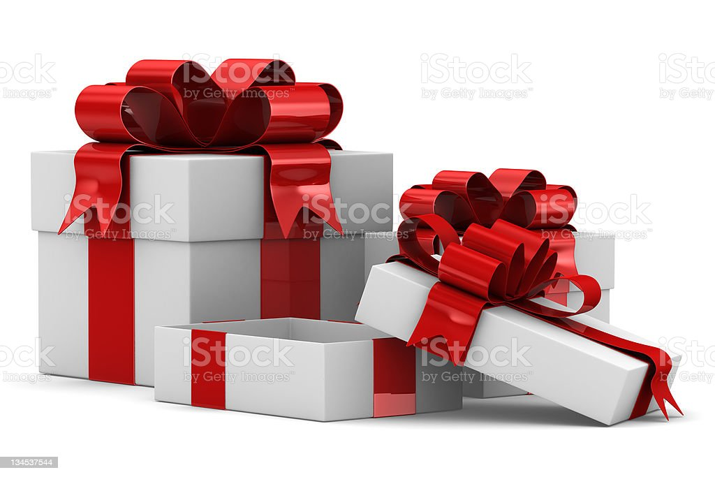 White gift boxes. Isolated 3D image royalty-free stock photo