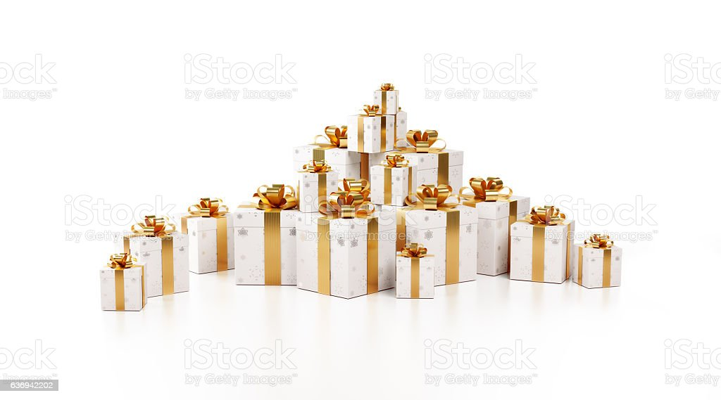 White Gift Boxes Tied with Shiny Gold Ribbon stock photo