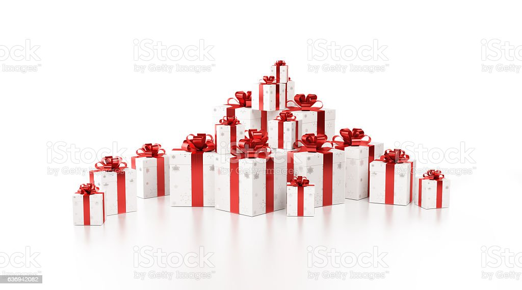 White Gift Boxes Tied with Shiny Red Ribbon stock photo