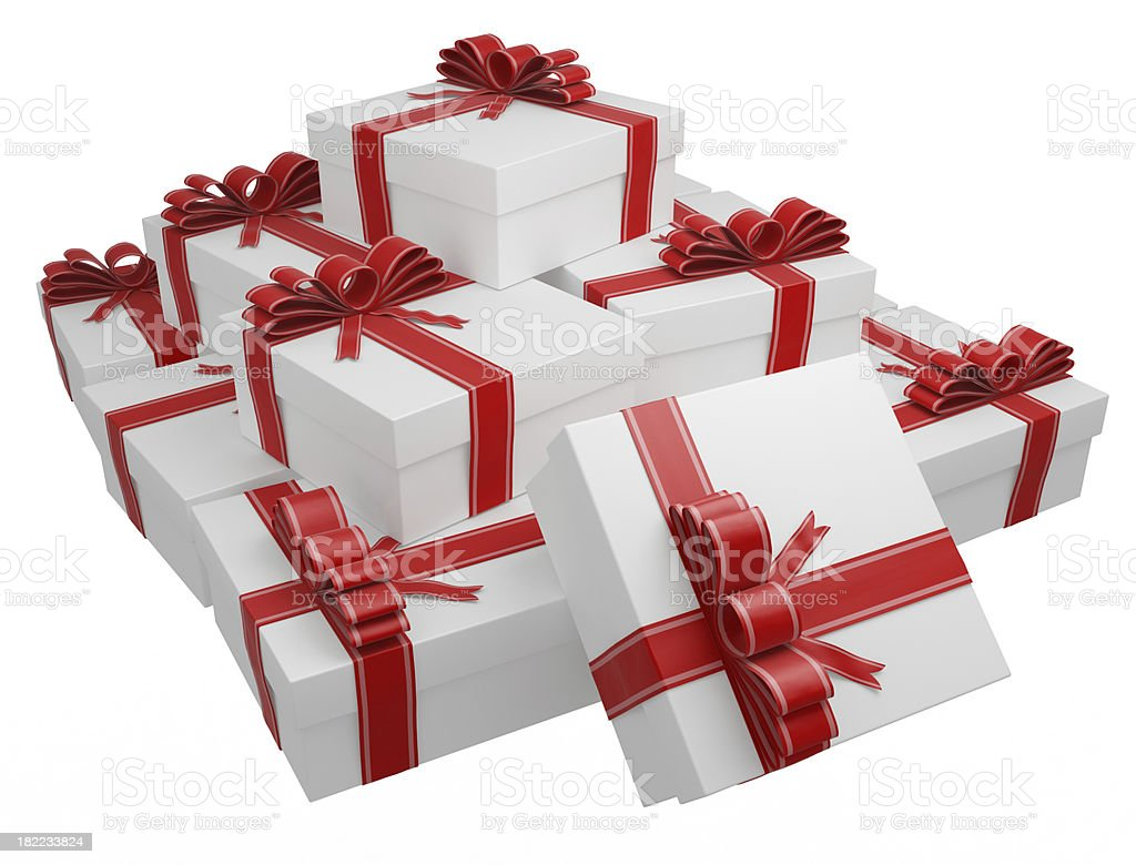 White gift boxes wrapped with red ribbon and bow stock photo