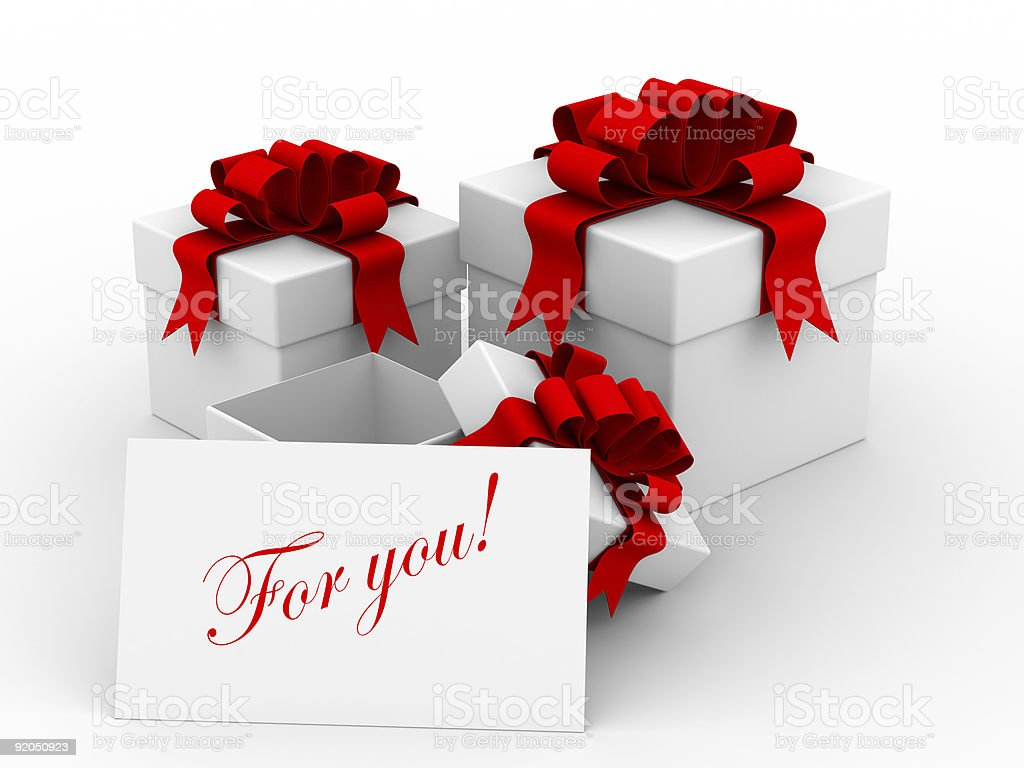 White gift boxs. 3D image. royalty-free stock photo
