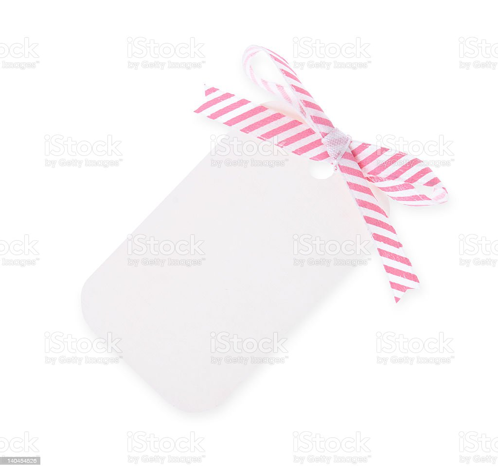 white gift tag with diagonal satin ribbon bow---with clipping path royalty-free stock photo