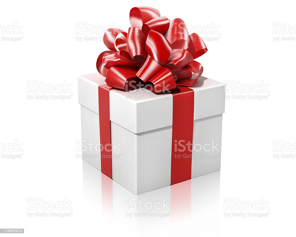 white gift with the red ribbon stock photo