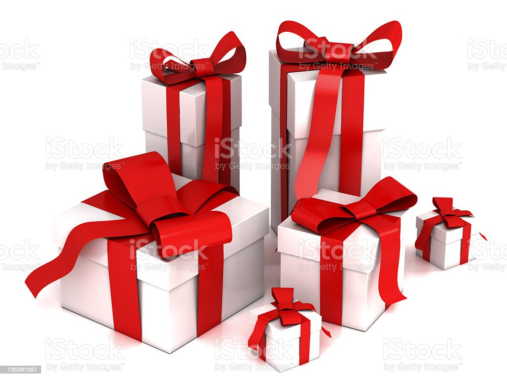 White gifts with red ribbons stock photo