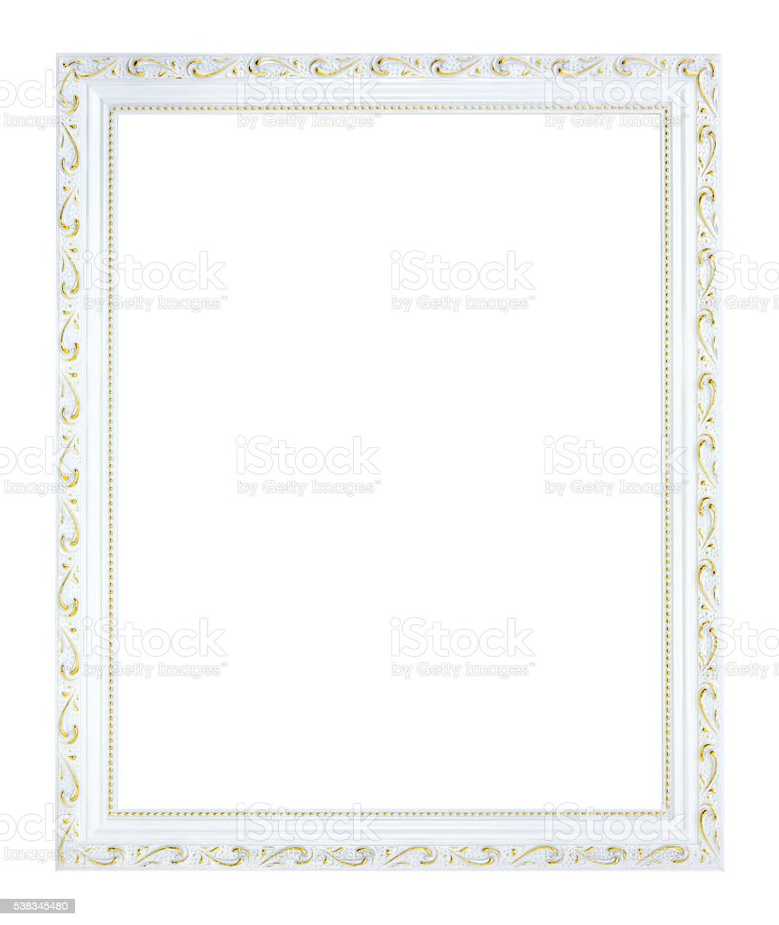 White gilded, empty wooden frame in vintage style. Old rectangular stock photo