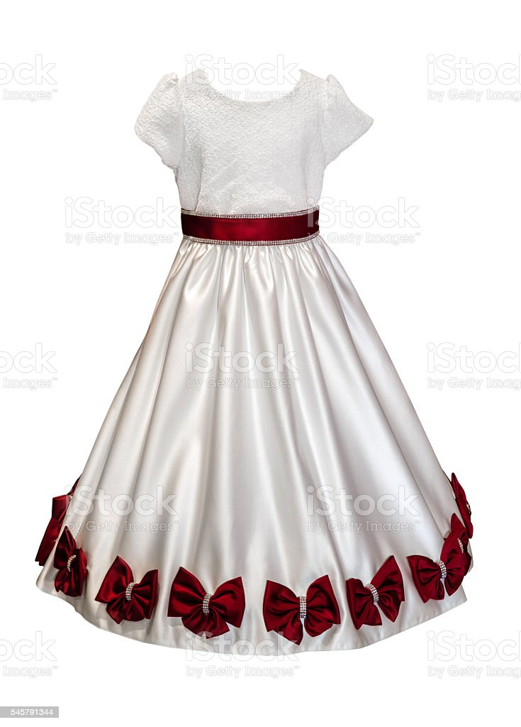White girl dress with red bows isolated stock photo