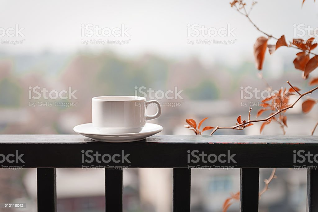 white glass on the balcony with sunlight in autumn morning stock photo
