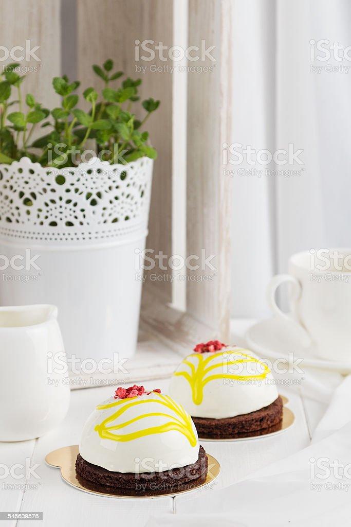 White glazed mousse cake stock photo