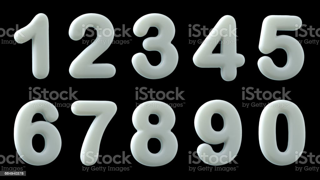 White glossy numbers,  3d illustration stock photo