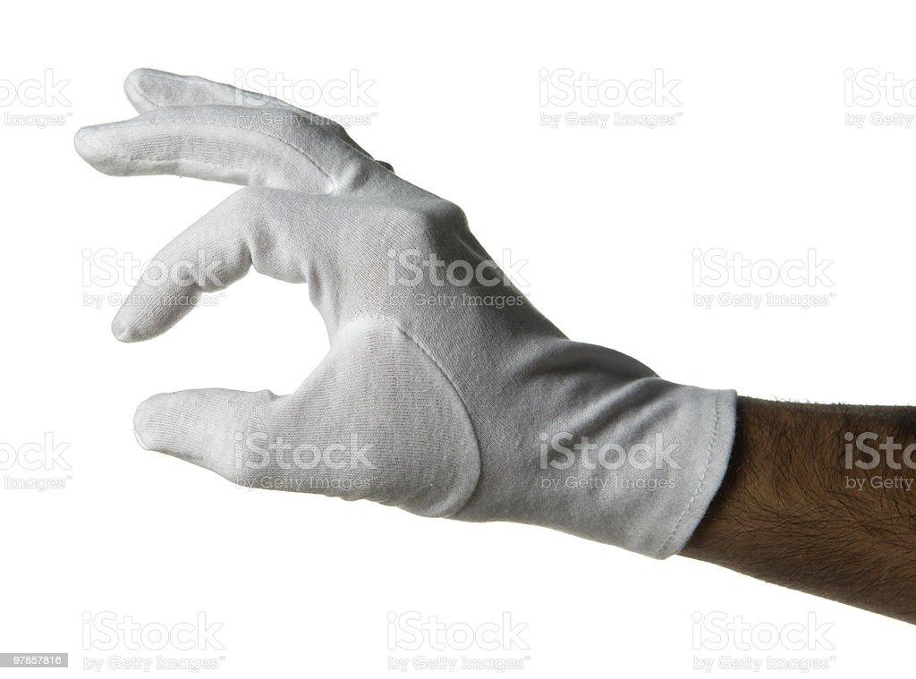 white gloved hand stock photo