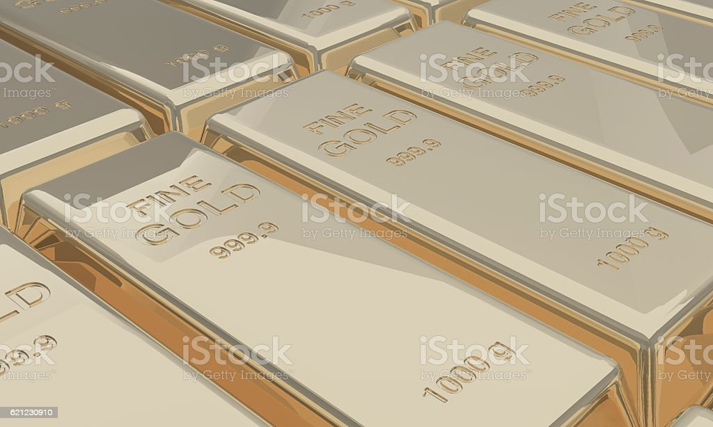White gold bars bank deposit stock photo