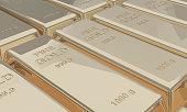 White gold bars bank deposit