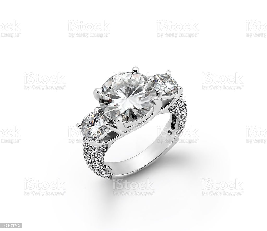 White Gold Diamond Engagement Rings stock photo