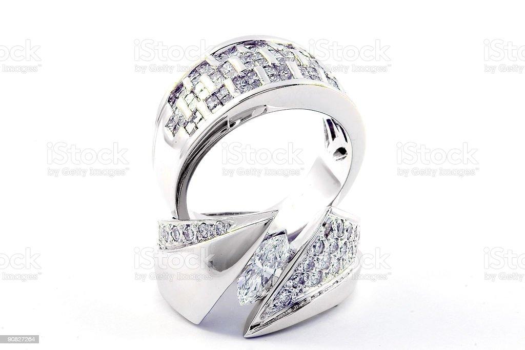 White Gold Engagement Set royalty-free stock photo