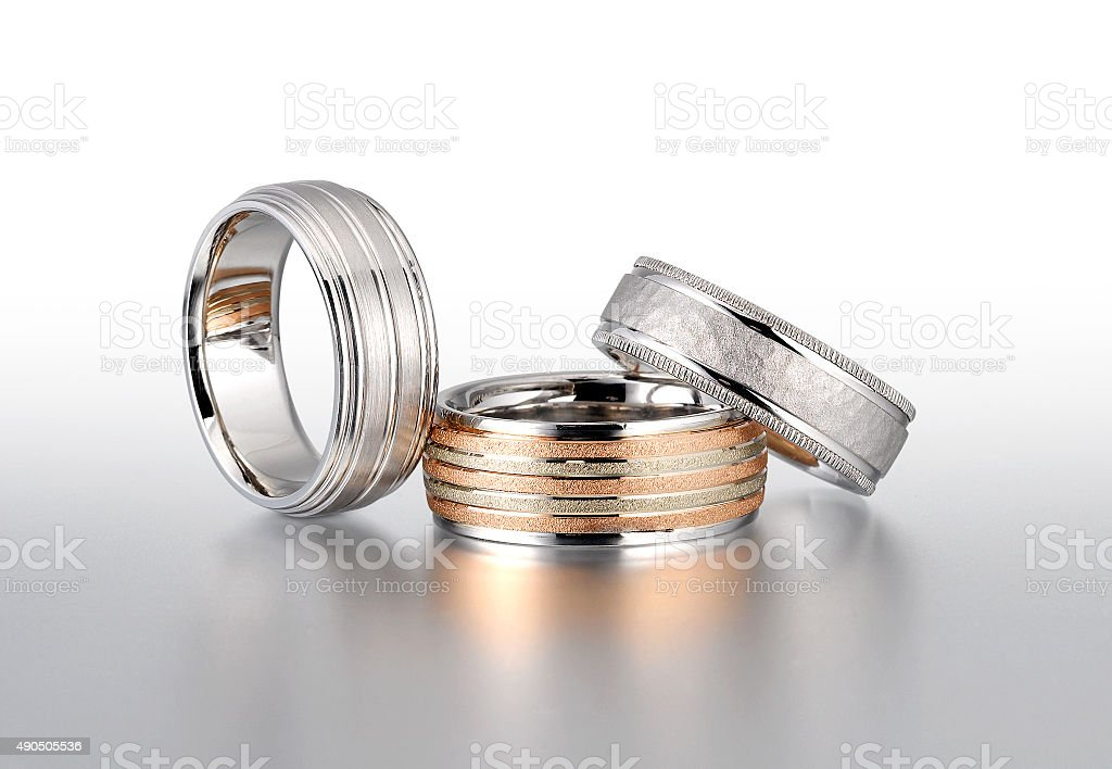 White Gold Wedding Bands stock photo