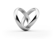 White Gold Wedding Rings Forming A Heart Shape