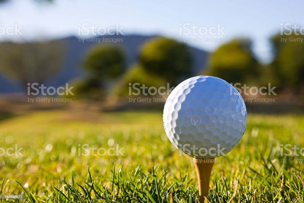 Golf ball on tee with green in background