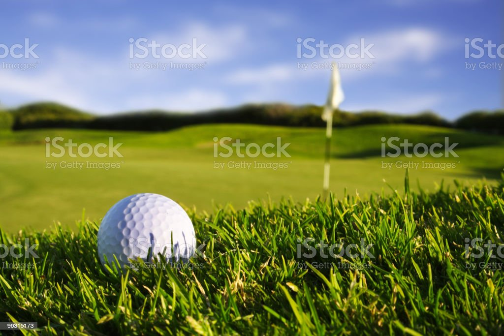 White golf ball on green grass stock photo