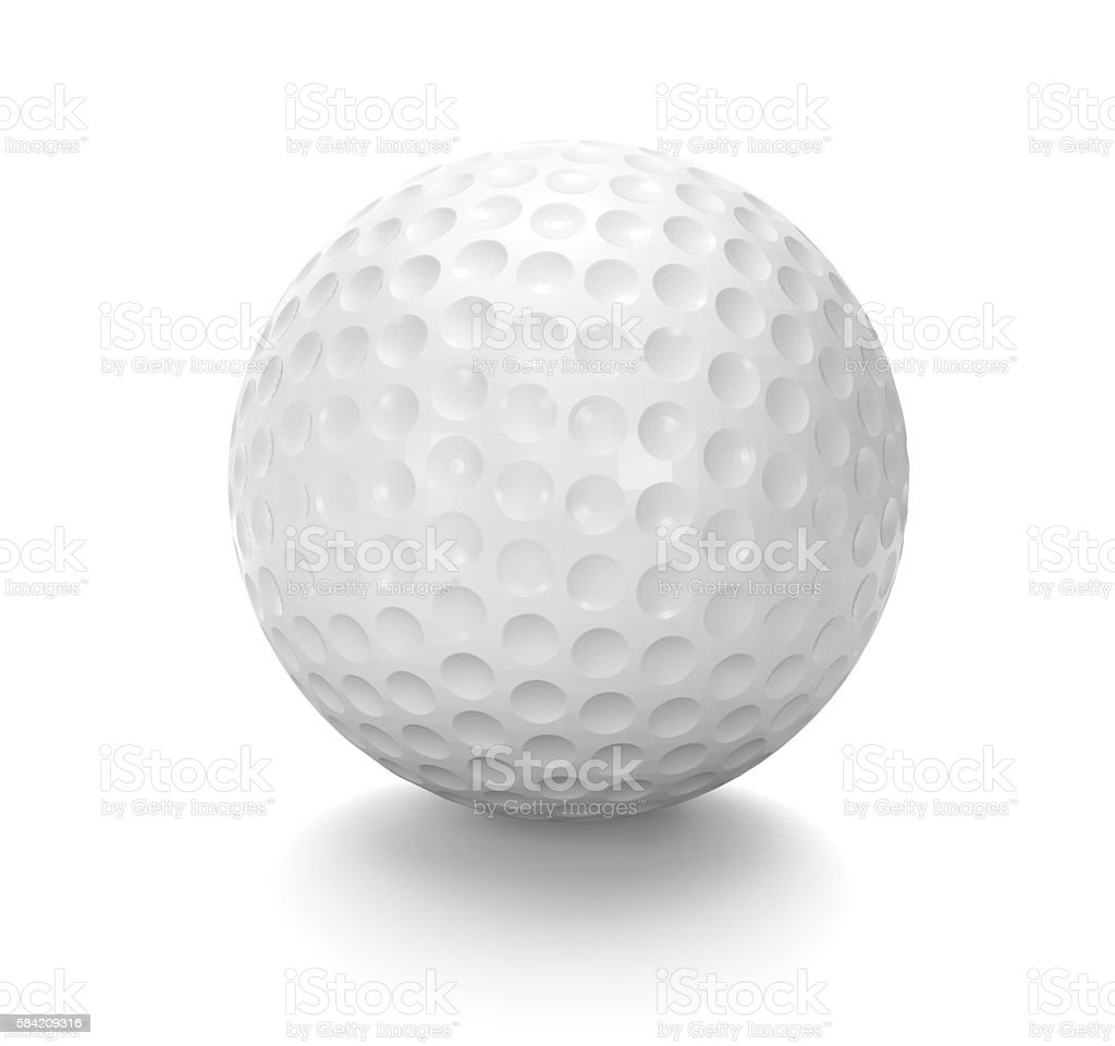 White golf ball  (3D rendering). stock photo