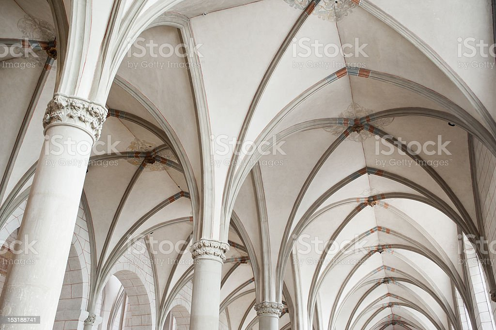 white gothic church corridor ceiling in ,europe. royalty-free stock photo