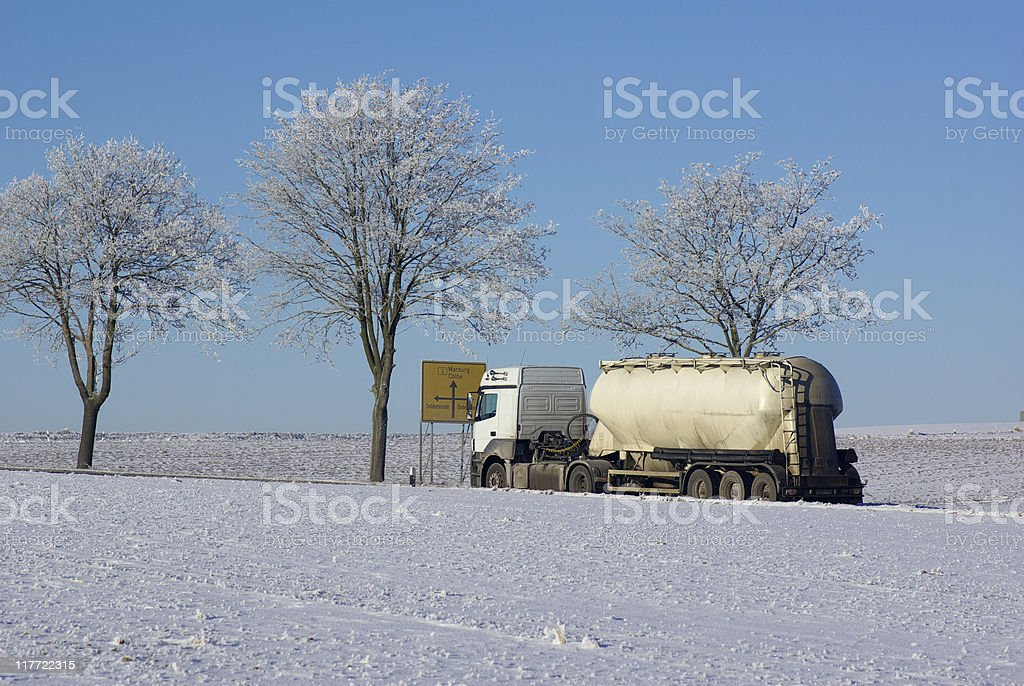 White grain vice on the Federal road in winter stock photo