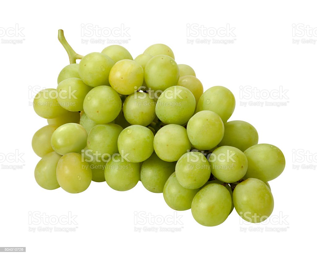 White Grape Bunch with clipping path stock photo