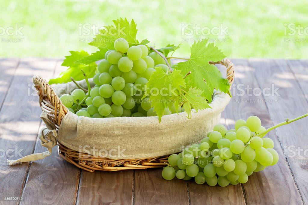 White grape in basket stock photo