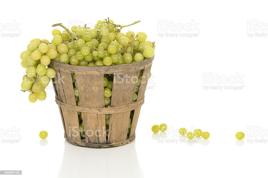 White Grapes in a Rustic Basket stock photo