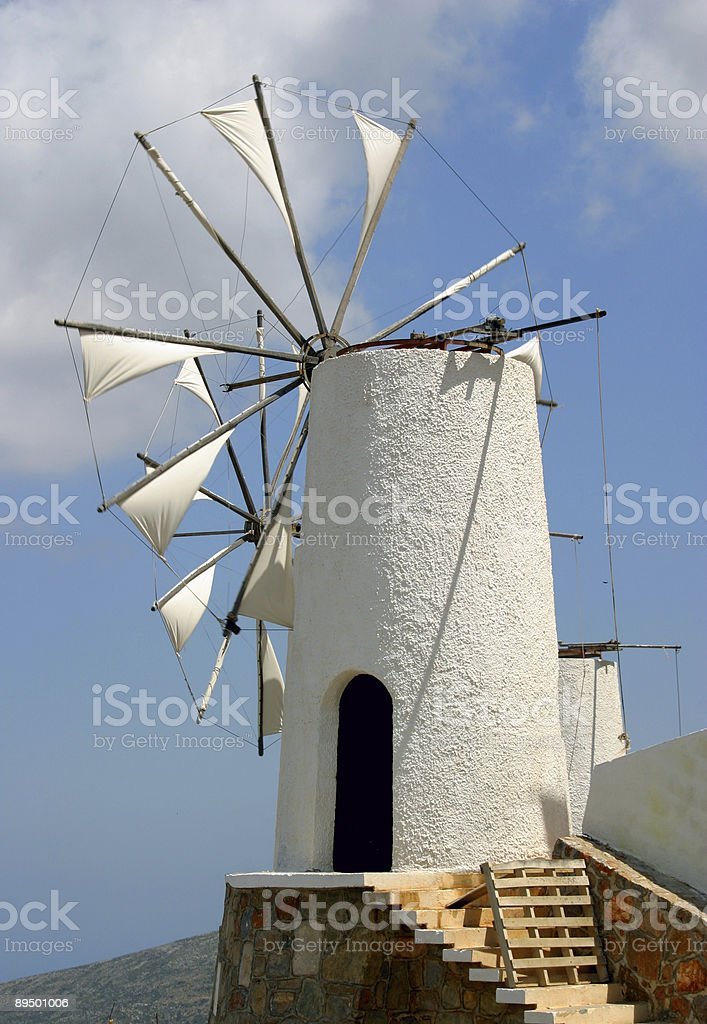 white greek windmill royalty-free stock photo