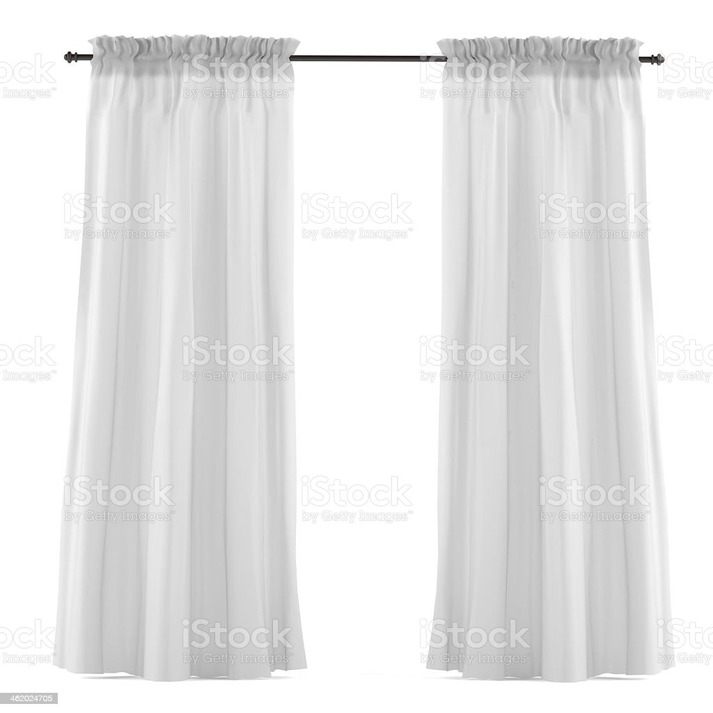 White grey curtain isolated stock photo
