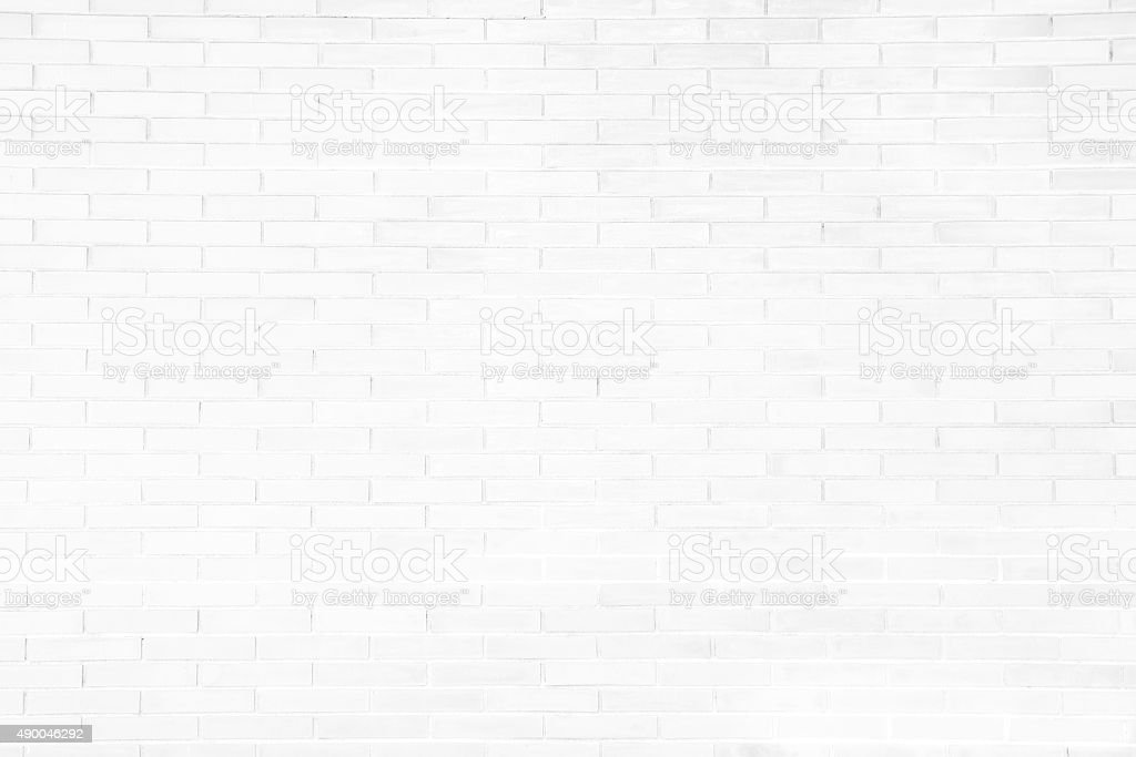 White grunge brick wall texture background stock photo